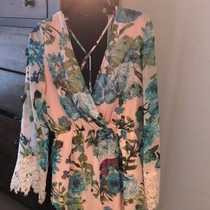 Dresses & Skirts - Pink floral chiffon romper